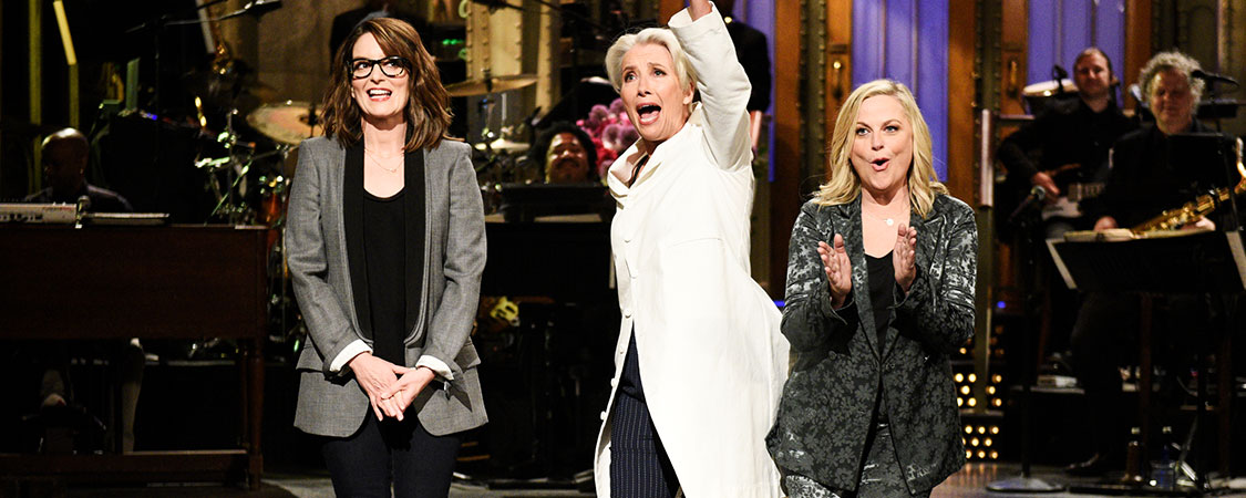 Tina Fey and Amy Poehler Join Emma Thompson in 'SNL' monologue
